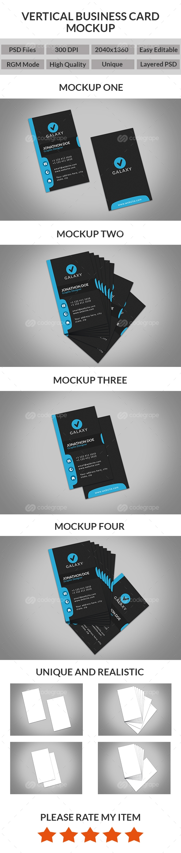 Unique Realistic Vertical Business Card Mockups