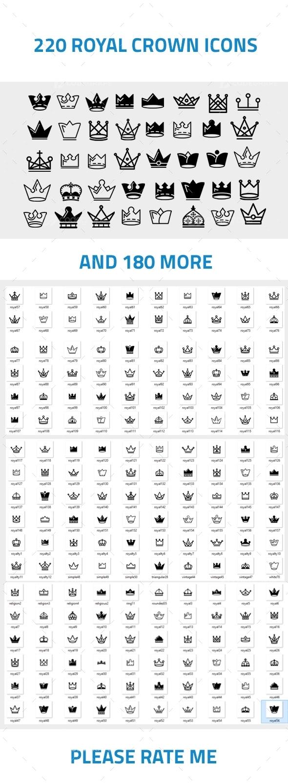 200+ Royal Crown Icons Mega Pack