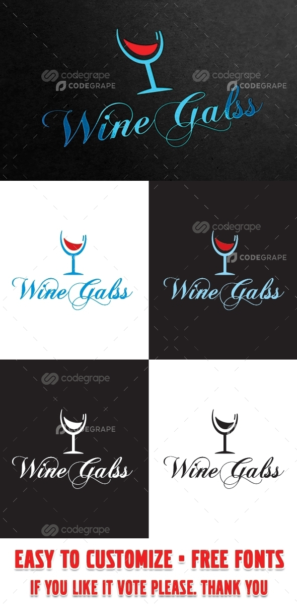 Wine Glass Logo Template