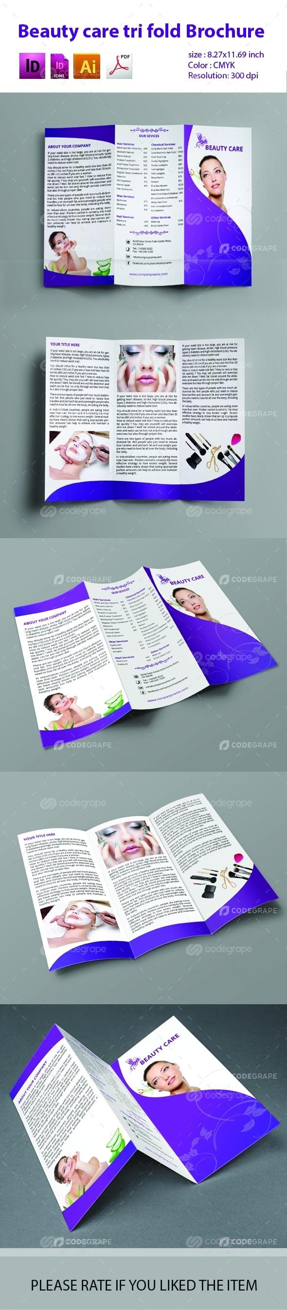 Beauty Care Tri Fold Brochure