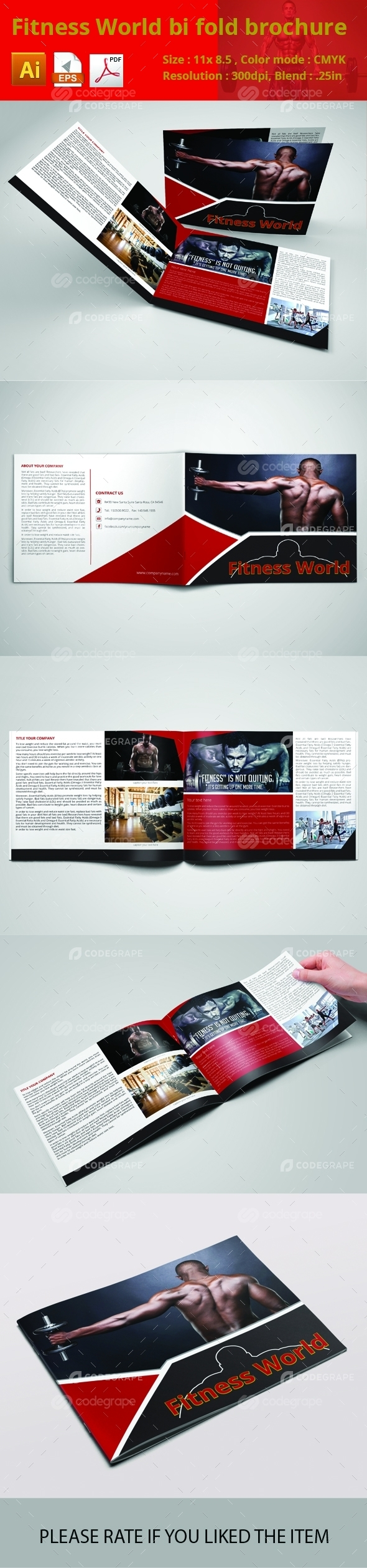 Fitness World Bi Fold Brochure