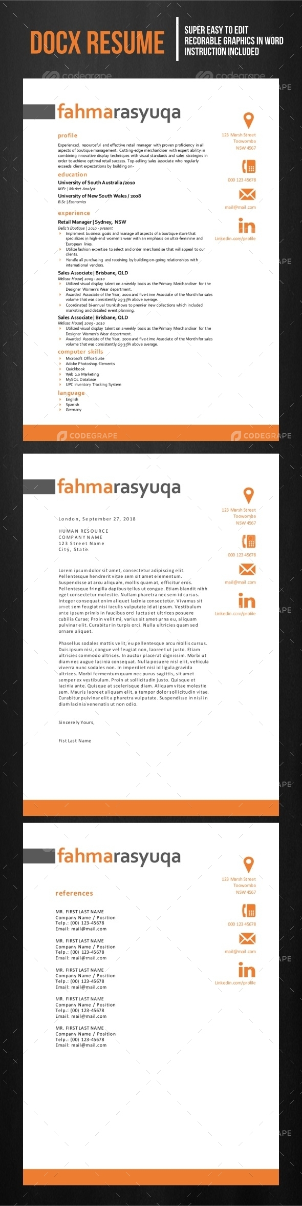 Resume Template (MS Word only)