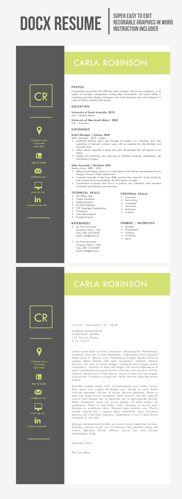 Icon Square Resume (MS Word only)