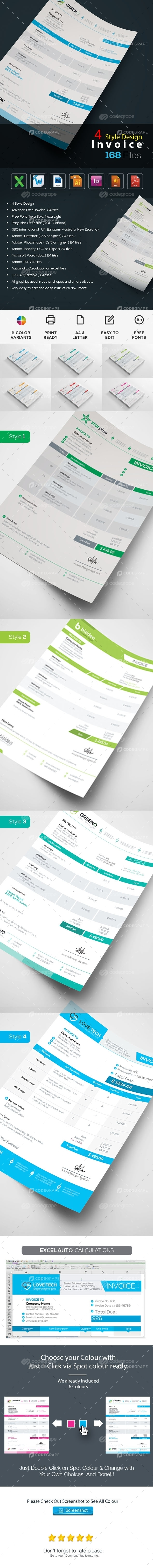 4 Style Design Corporate Invoice Pack