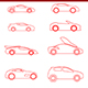 15 Thin Line Stroke Cars Icons