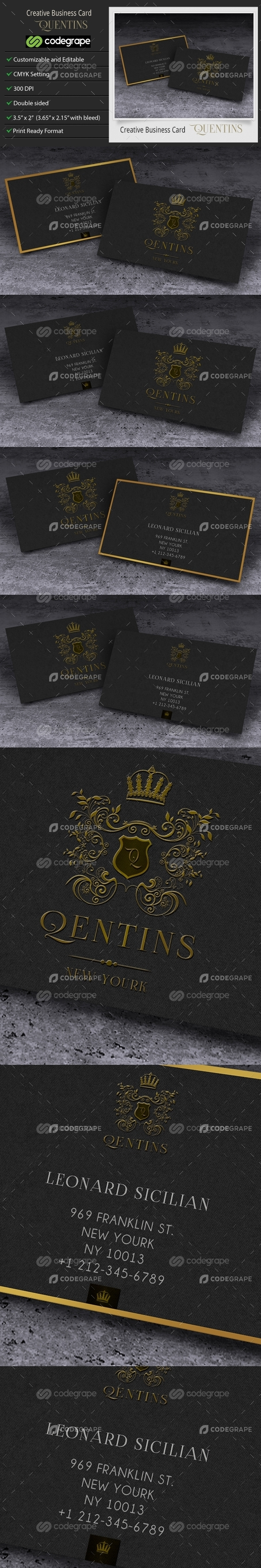 Creative Business Card or Corporate Business Card - Quentins