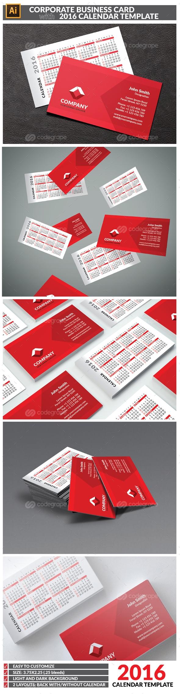 Business Card Calendar Template