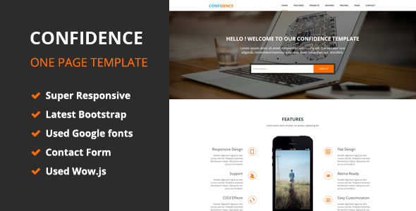 Confidence - OnePage HTML5 Template