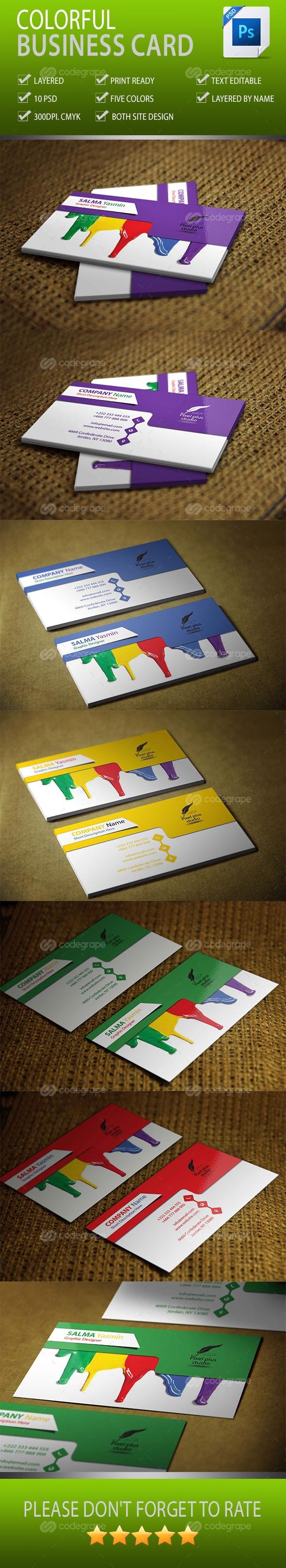 Colorful Business Cards Vol-1.0 Five Colors