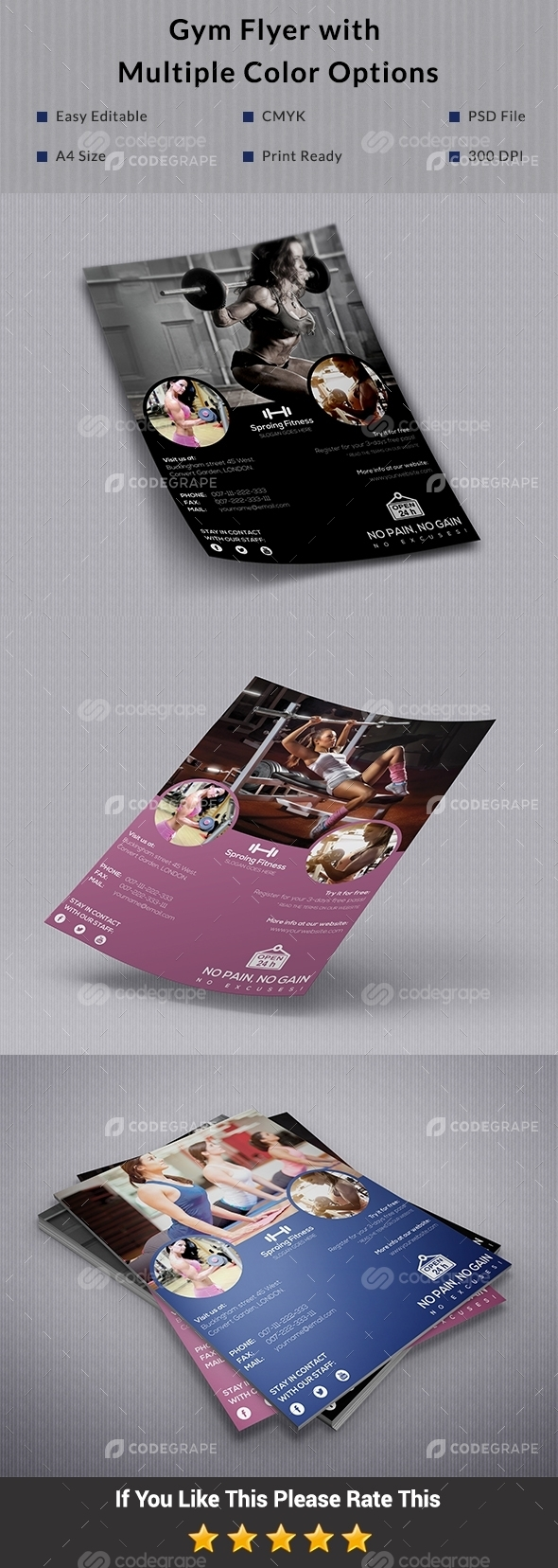 Gym Flyer with Multiple Color Options