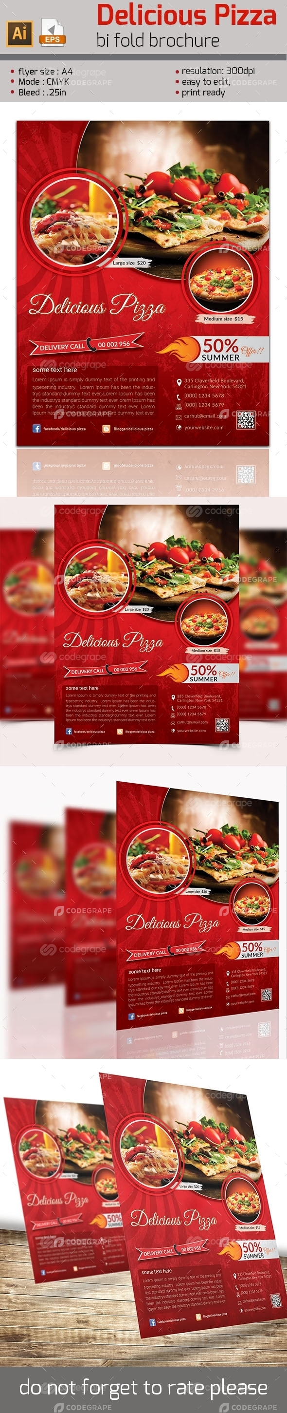 Delicious Pizza Flyer Template