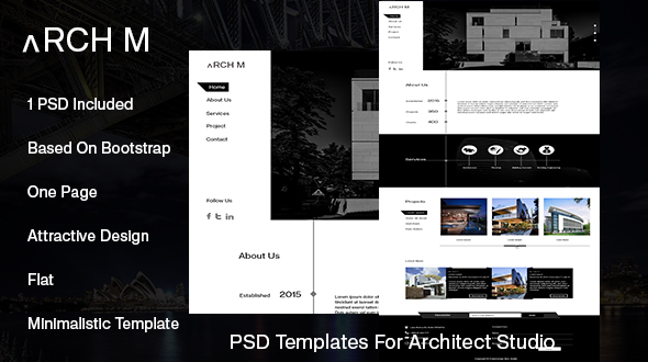 Arch M One Page PSD Template