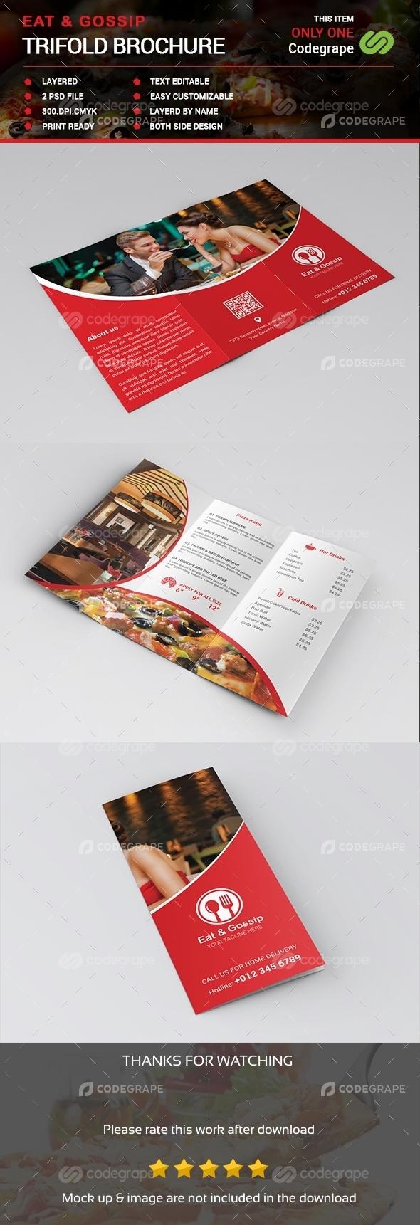 Eat & Gossip Trifold Brochure / Menu
