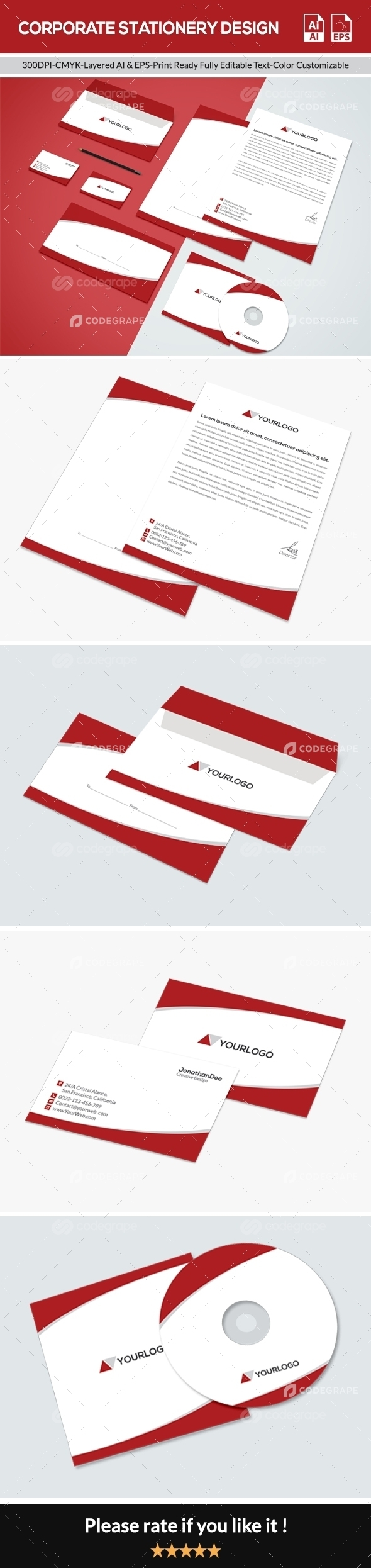 Flat Corporate Stationery Design