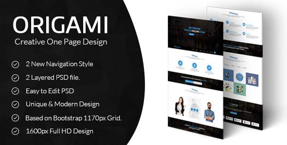 Origami Creative One Page PSD Template