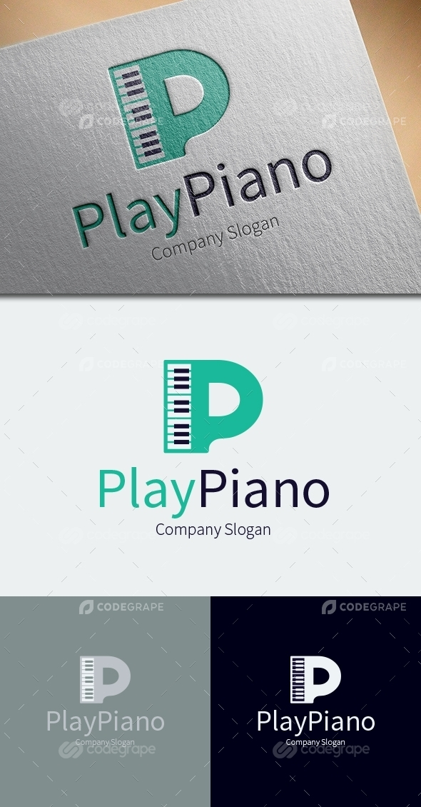 Play Piano Logo Template