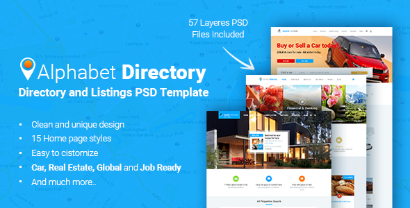 Alphabet Directory and Listings PSD Template