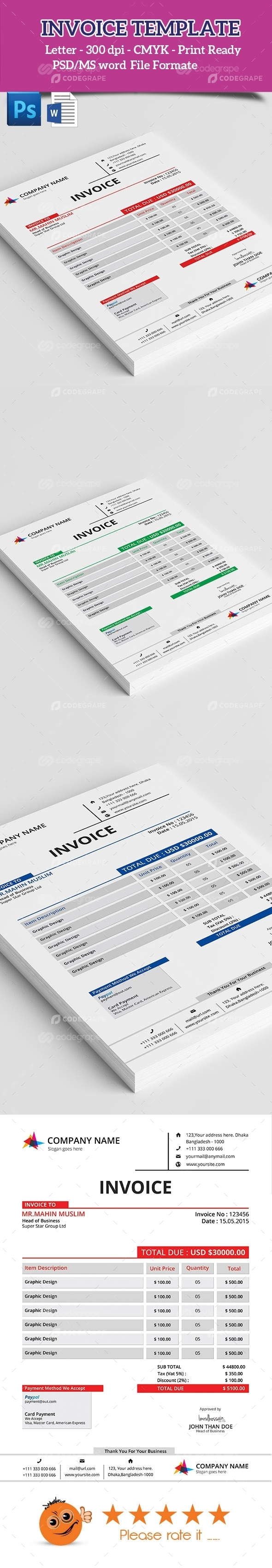 Clean Invoice MS word