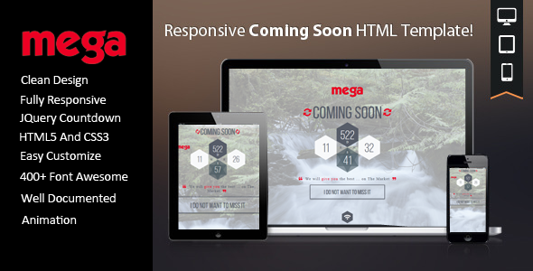 Mega Coming Soon HTML Template