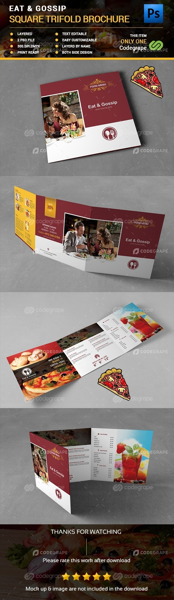Eat & Gossip Square Trifold Brochure