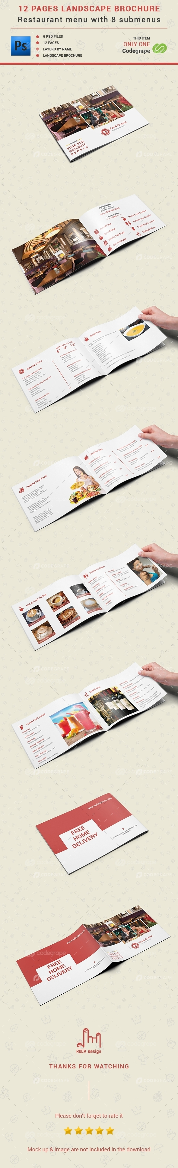 12 Pages Restaurant Menu