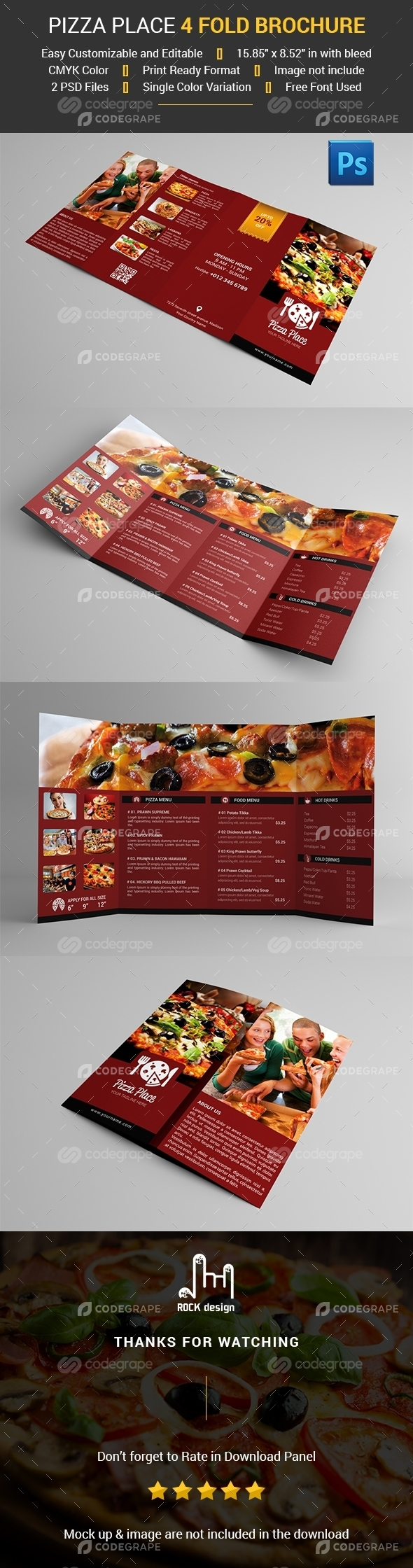 4 Fold Pizza Place Brochure