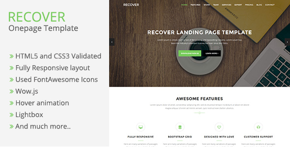 Recover - Bootstrap One page Template - Themes | CodeGrape