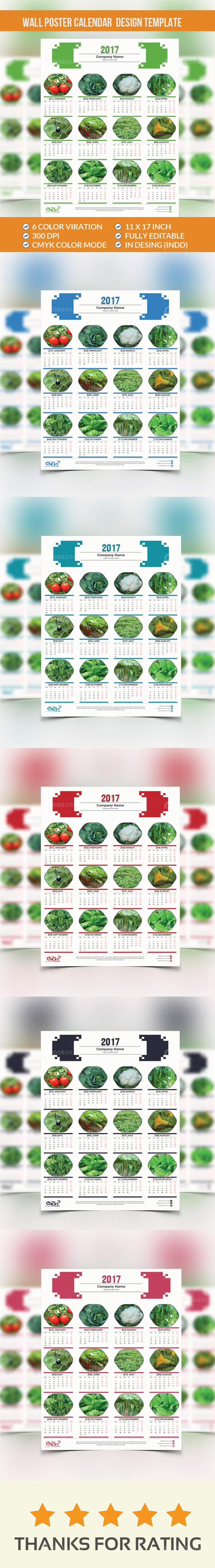 Wall Poster Calendar Design Template