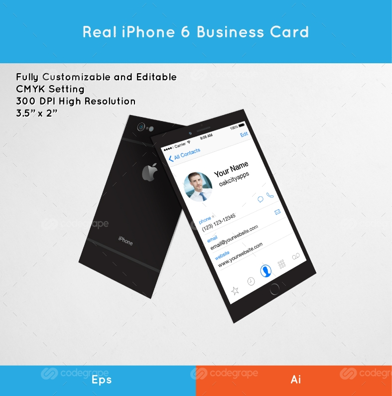 Real iPhone 6 Business Card - Print | CodeGrape
