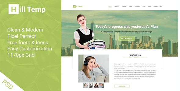 Hill Temp One Page PSD Template