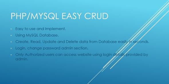 PHP/MYSQL Easy CRUD