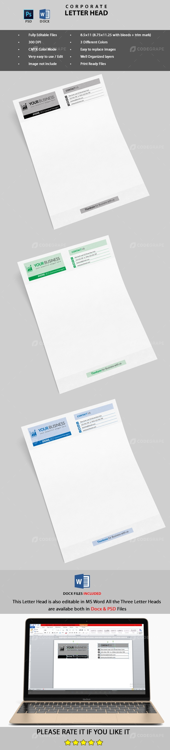 Corporate Letter Head (PSD & MS Word)
