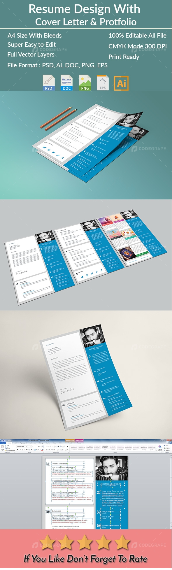 Resume I CV  with Cover Letter & Portfolio