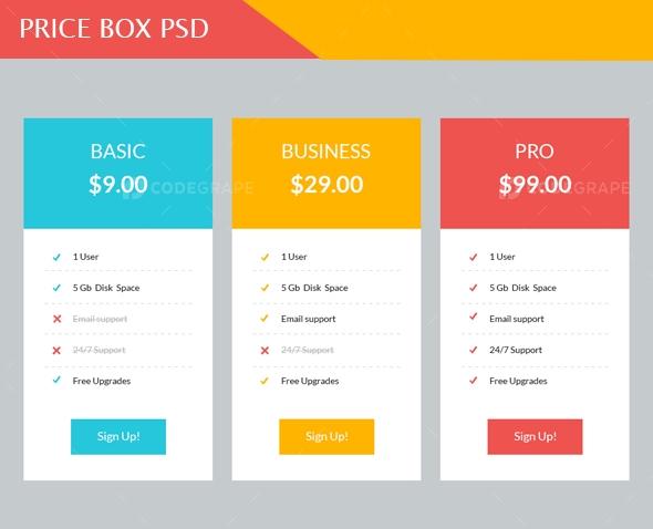 Price Box Psd