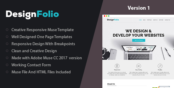 designFolio - One Page Adobe Muse Template