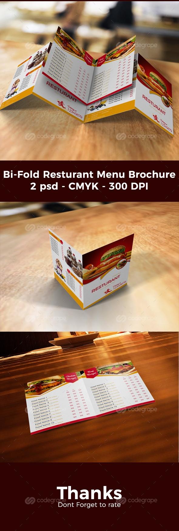 Bi-Fold Resturant Menu Brochure