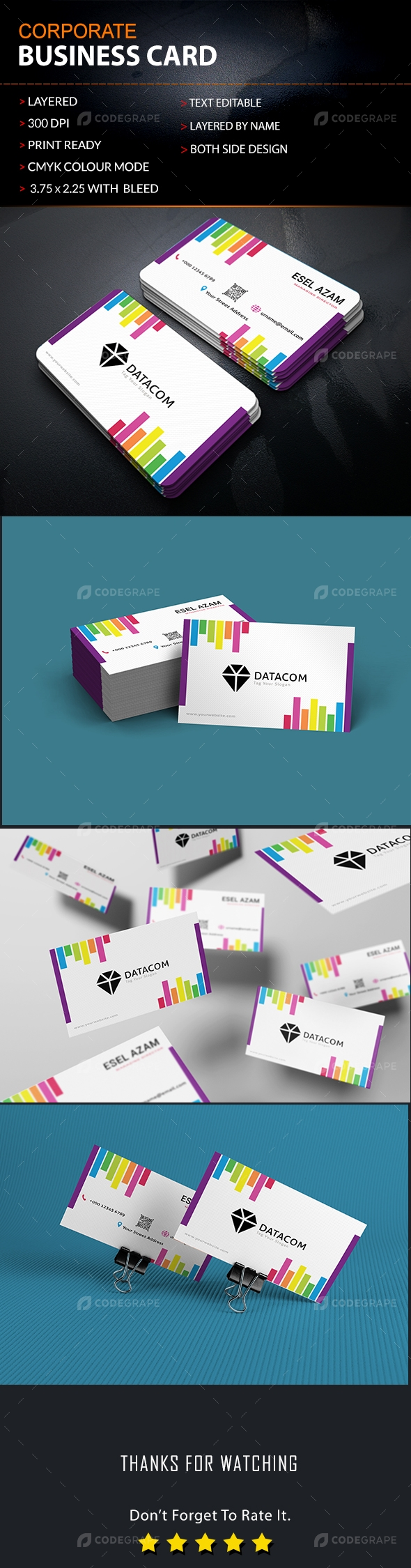 Rainbow Color Business Card