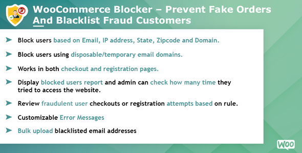 Woocommerce Blocker - Prevent fake orders and Blacklist fraud customers