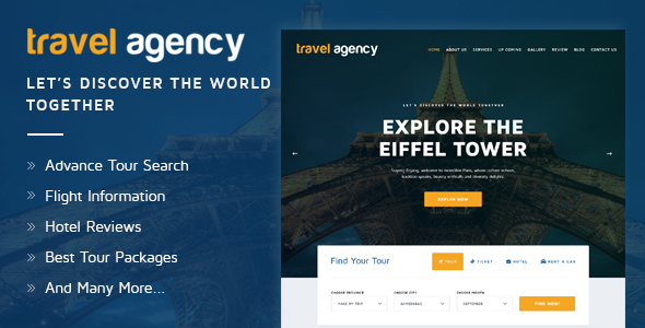 Travel Agency - Tour & Travel Hotel Booking HTML Template