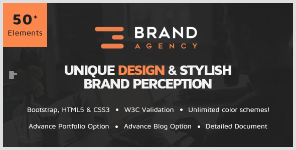 Brand Agency - One Page HTML Bootstrap Template for Agency, Startup, Corporate
