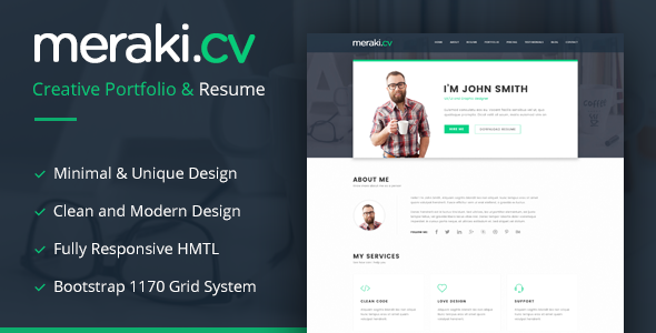 Meraki - One Page HTML Resume Template