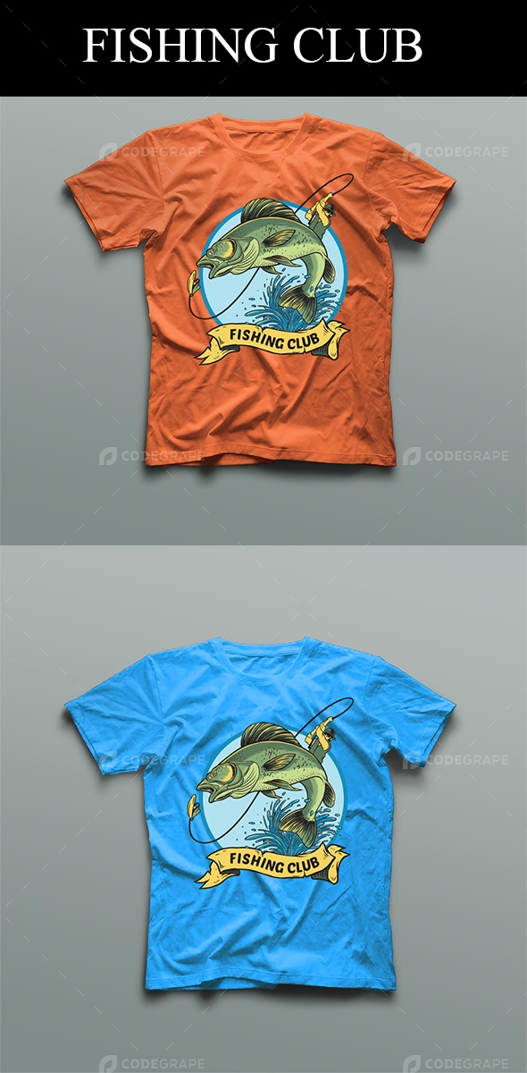 Fishing Club, T-Shirt Design Template