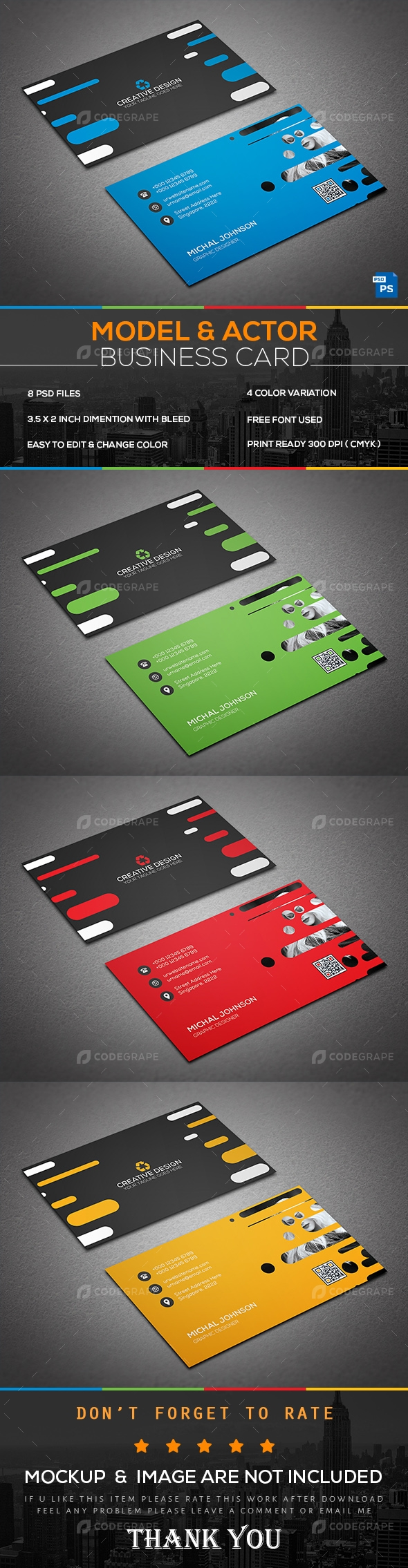 Model & Actor Business Card
