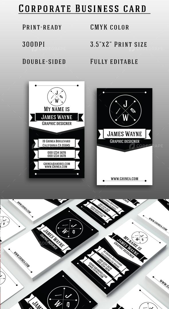 Retro Black and White Business Card