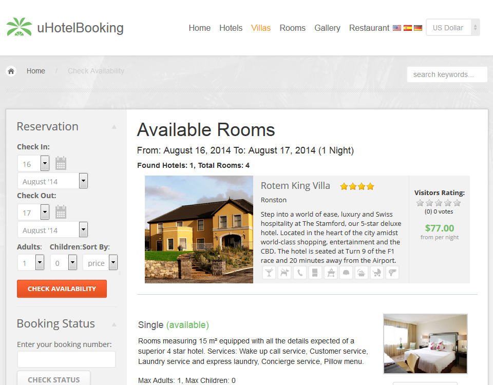 uHotelBooking - hotel management, reservation and online