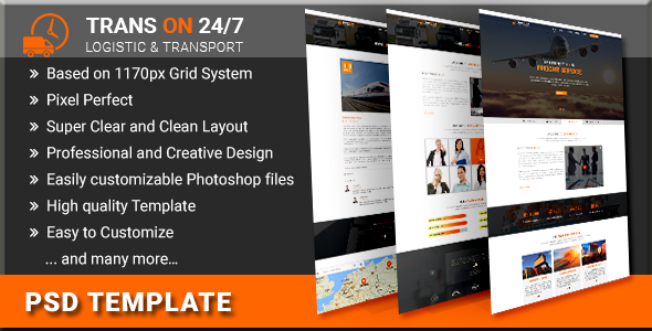 TransOn24/7 | Logistic & Transport PSD Template