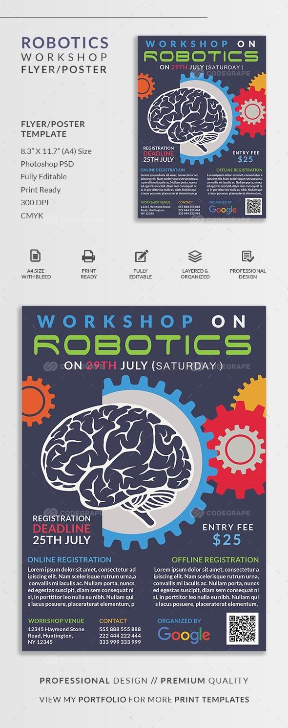 Robotics Workshop Flyer Poster Print Codegrape