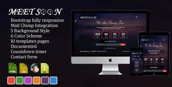 Meet Soon - Responsive Coming Soon Template