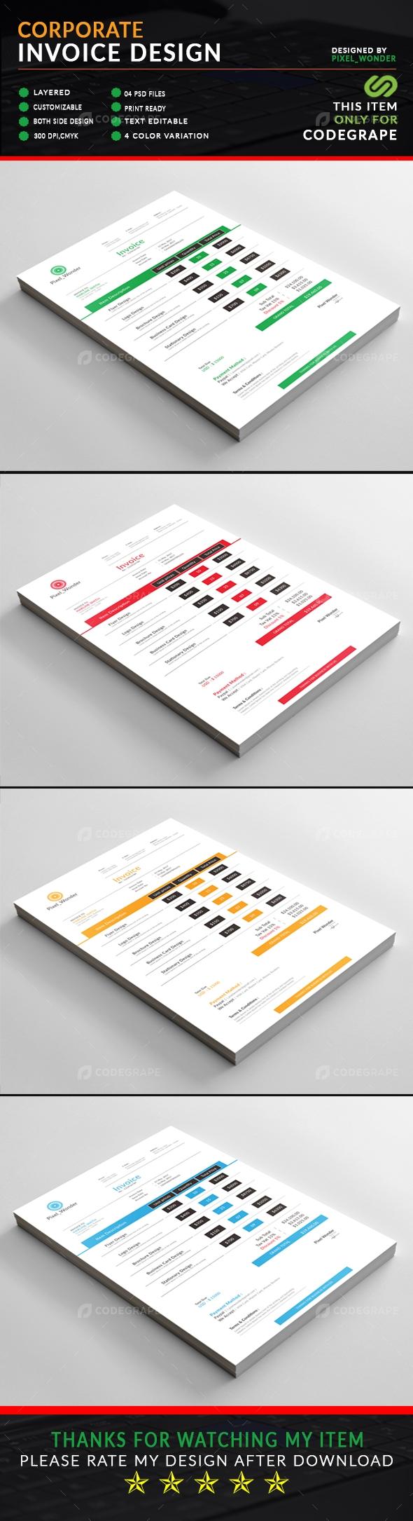 Corporate Invoice Design Print Codegrape