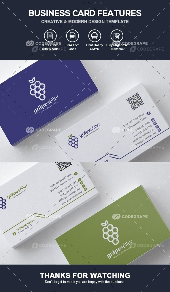 Professional Business Card Template Vol Print CodeGrape - Professional business cards templates